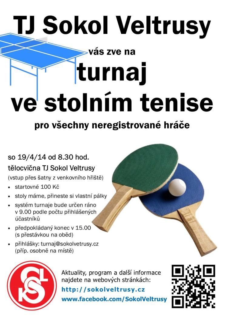 plakát na dubnový turnaj - ping-pong