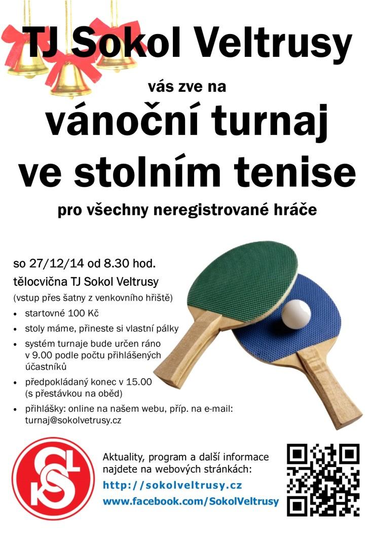 plakát na vánoční turnaj ve stolním tenise